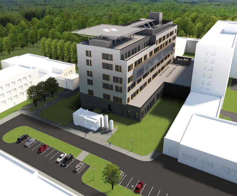 wizualizacja nowego budynku szpitala Biziela